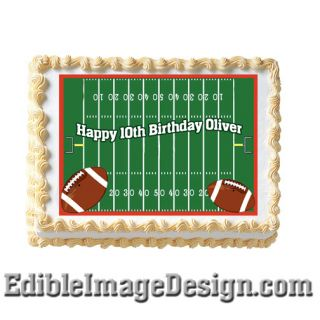 Football Field NFL Fan Edible Birthday Party Cake Image Cupcake Topper