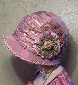 Antique Style Rose Silk Diamante & Vintage Gold Lace 1920s Flapper
