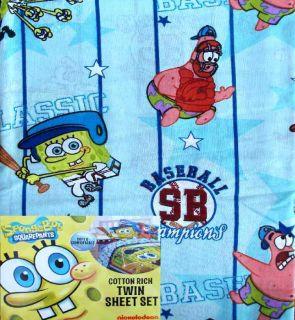 Spongebob Baseball Football Sports Blue 3pc Twin Sheets Bedding Set
