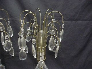 Pair Mid Century Modern Waterfall Prism Crystal Table Lamps 19