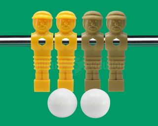 Yellow Tan Foosball Men 2 Smooth Table Soccer Balls