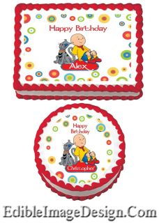 Caillou Edible Birthday Party Cake Image Cupcake Topper Favor