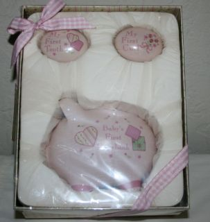 BABY FIRST TOOTH CURL PIGGY BANK GIFT SET NEW IN BOX GIRLS PINK