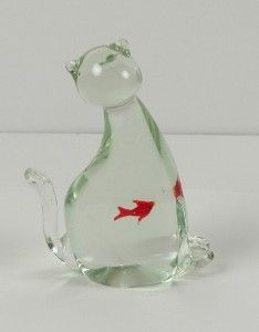 Vinage Murano Glass Ca and Fish Figure Paperweigh