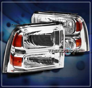05 06 07 Ford Super Duty Excursion Crystal Headlights Chrome F250 F350