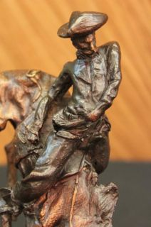 Outlaw by Frederic Remington Handcast Bronze Statue Marble Base