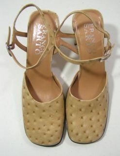 Franco Sarto Beige Chunky Heel Leather Mary Jane Heels New Womens Size