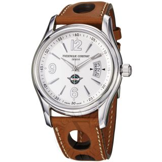 Frederique Constant Mens Healey Silver Dial Tan Leather Strap Watch FC