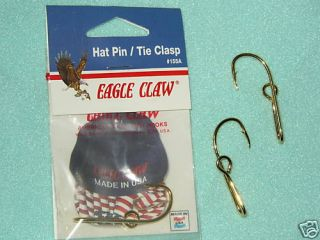 The Original Eagle Claw Gold Plated Fish Hook Hat Pin