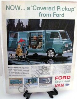 Ford Econoline Van .. A Covered Pickup Vintage Original Ad Backed