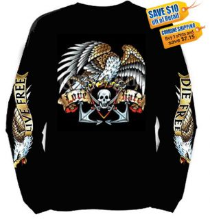 New Live Free Die Free Love Hate Patriotic Long Sleeve Biker T Shirt