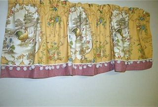French Country Decor Valance Country Fair Toile Rooster Gold Custom