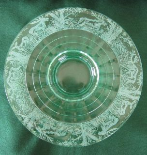 Green Glass Center Depression Plate Black Forest Paden City