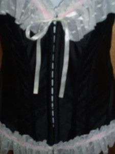 Vintage ady Gluck Frankel Pin Up Girl Ruffle Lace Black Satin Boned
