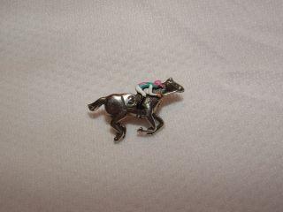 New Frankel UK Hand Painted Horse Racing Jockey Silks Pin 3 Last Race