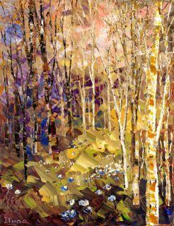 Summer Original Landscape Palette Knife Tatiana Forest Art
