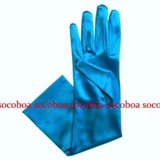 Blue Elbow Length Opera Satin Bridal Formal Gloves Costume Prom