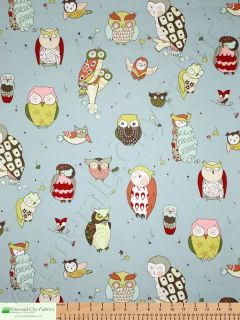 Alexander Henry Its A Hoot Owls Blue Upholstery Fabric