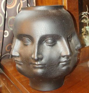 Piero Fornasetti Era Matte Black Perpetual Face Modern Art Sculpture