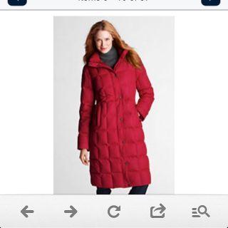 NWOT Lands End Chalet Down Feather Coat Black Sz M Zip Off Fur Hood L