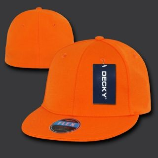 Plain Flex Baseball Ball Fitted Flat Bill Cap Caps Hat Hats