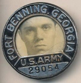 WW2 ft Benning Photo Army ID Numbered Badge Robbins Co