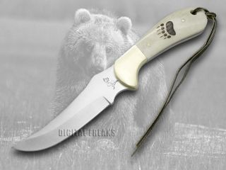 German Bull White Smooth Bone Bear Track Fixed Blade Pocket Knife