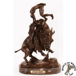 HORSE  by Frederic Remington Bronze Handcast Sculpture w/ Marble Base