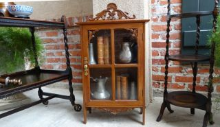 Antique English Carved Vitrine Display Curio Cabinet w Glass Door