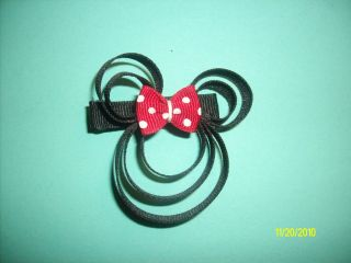 Minnie Mouse Character Clippie Black Boutique Hair Bow Babies Toddlers