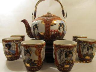 ANTIQUE Japanese porcelain Satsuma Kutani Nippon moriage GOLD teapot 6
