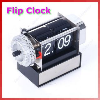 Vintage Retro Modern Home Decor Auto Stand Flip Desk Table Alarm Clock