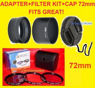 Lens Adapter Filter Kit Cap 72mm Fuji S4000 FinePix 72