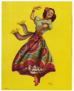 Art Frahm 1940s Senorita Dancing Queen Pin Up Print Mint Spanish