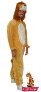NEW* Adult Safari Plush Soft Full Body ADULT Hooded Lion Costume