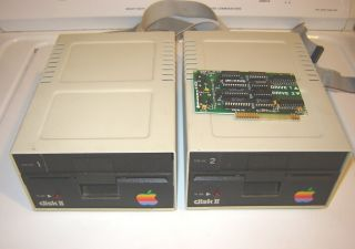 Apple II Dual 5 25 inch Floppy Drives Cable Controller Card