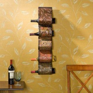 NEW FLORENZ WALL MOUNT WINE RACK SCULPTURE HOLDER HOME DECOR SEI