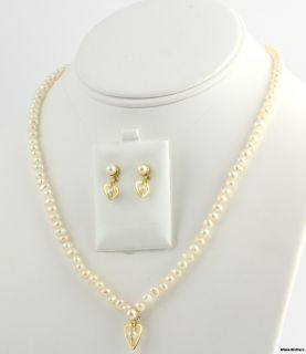 Genuine Freshwater Pearl Necklace Dangle Earring Set 18K Yellow Gold
