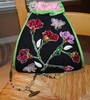 MARY FRANCES VELVET APPLIQUED BEADED FLORA HANDBAG W/ HANG TAG