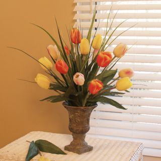 Silk Flower Arrangement Fresh Cut  Tulips Grass