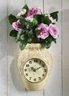 Rose Flowers Bouquet Vase Battery Wall Art Decor Floral Clock 3D Wall