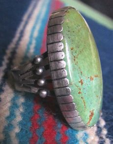Navajo Melvin Francis Ring Oxidized Large Turquoise Sterling Silver