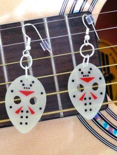 Friday The 13th Hockey Mask Jason Halloween Guitar Pick Earrings *Glow