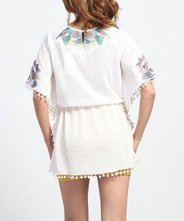 Embroided Kimono TUNIC SHIRTS Retro Chic Fringed Futter Sleeve Top