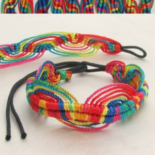 Rainbow Macrame Wave Pattern Friendship Bracelet