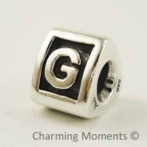 New Authentic Pandora Silver Charm Letter G 790323G Bead