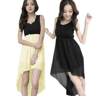 Soft Lining Layer Chiffon Patchwork Bottom Tank Dress for Ladies