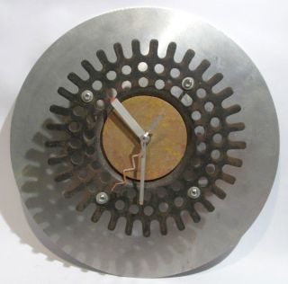 NYC SCULPTOR TOBY FRANK SIGNED NEW MILLENIUM METAL CLOCK SCULPTURE
