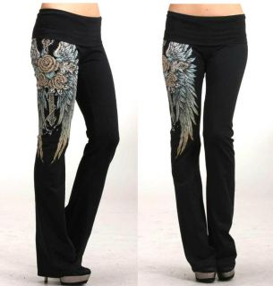 CROSS ROSE ANGEL WINGS TATTOO YOGA PANTS LEGGINGS M & ED HARDY PERFUME