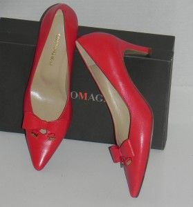 Bruno Magli Gabriella Rocha Athens Red Leather Pumps Shoes 38 8